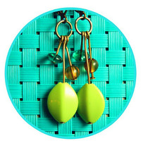Leafy Lime Green Dangle Earrings // Handmade // Great for both Women & Girls of all Ages! // FREE SHIPPING SPECIAL!