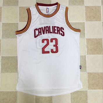 KUYOU Cleveland Cavaliers LeBron James White 100% Authentic Jersey