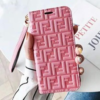 Fendi Fashion New More Letter Leather Women Men Protective Case Leather Case Phone Case Pink