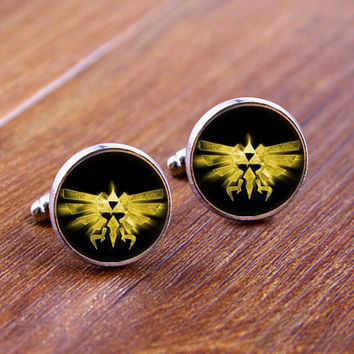 Cuff  links,Zelda Symbol   cufflinks,Weeding gift,personnality gift,Photo cufflinks,Superhero cufflinks