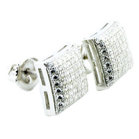 Mens Earrings 9.68mm Wide Domed Sterling Silver Pave Set CZ Screw Back Studs
