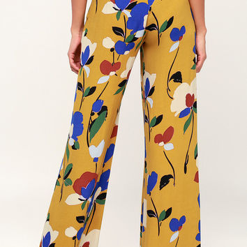 Palladio Mustard Yellow Multi Print Wide-Leg Pants