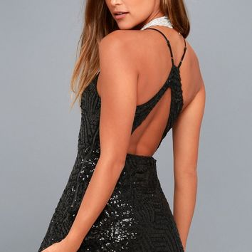 Serenade in the Night Black Sequin Skater Dress