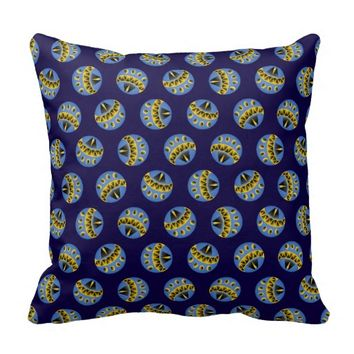 Blue and Yellow Abstract Pattern Polka Dots Pillow