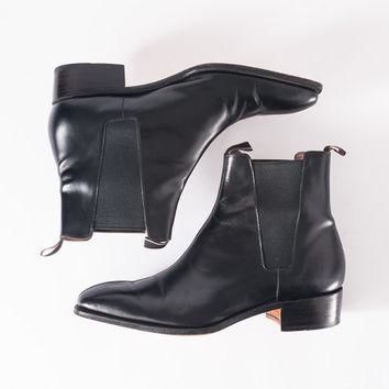 Vintage Paul Smith Black Rocker Ankle Boots: 1980s Designer Leather Shoe Boots, Punk F