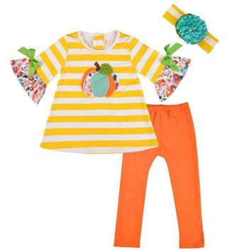 Holloween Day Pumpkin Girl Outfit Baby Girl Summer Clothes Cute Baby Summer Boutique Clothing Matching Boy T-shirt 2GK806-398
