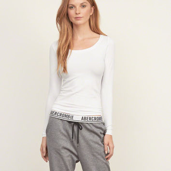 Womens Sugarlips Long-sleeve Seamless Scoopneck Top | Womens Tops | Abercrombie.com