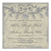 Grey Sand Grunge Baroque Floral Wedding Invitation from Zazzle.com