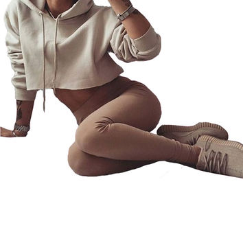 2016 Women Fashion Casual Loose Punk Hooded Hoodie Long Sleeve Stylish Crop Top Summer Autumn Thin Sweatshirt Khaki Tracksuit