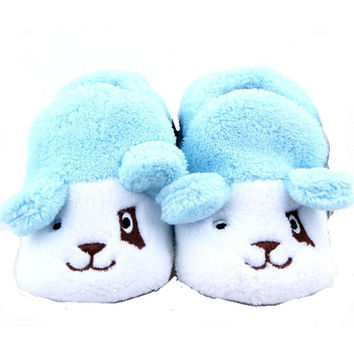 Adorable Baby Boys Puppy Dog Booties - Blue and White  (0-12 months)