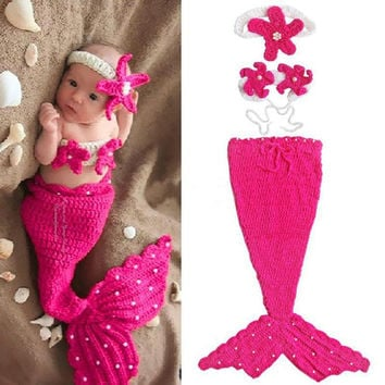 Beautiful Mermaid Newborn Baby Girl Photo Photography Props Infant Handmade Outfits Crochet Knit Cocoon Set Knitted Bebe Costume