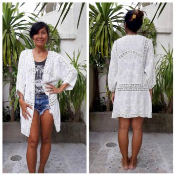 Handmade Soft and Sheer Cotton Lightweight Kimono Cardigan with Lace Embroidery