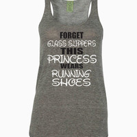 Forget Glass Slippers, This Princess Wears Running Shoes Alternative - Ladies' Meegs Eco-Jersey Racerback Tank