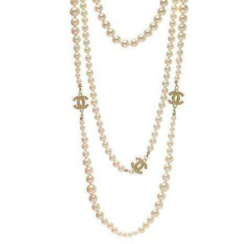 DCCKNQ2 Chanel Woman Fashion Logo Pearls Necklace For Best Gift-3