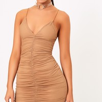 Camel Fishnet Ruched Front Strappy Bodycon Dress
