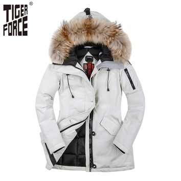 TIGER FORCE 2017 Women Winter Coat Parka Padded Coat Winter Jacket Women European Size Real Raccoon Fur Collar Free Shipping