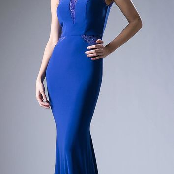 Royal Fit and Flare Evening Gown Scoop Neck with Sheer Cut Out Bodice