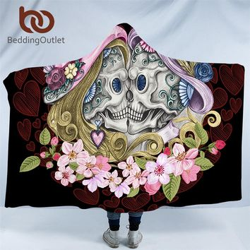 BeddingOutlet Skull Couples Hooded Blanket Gothic Sherpa Fleece Wearable Throw Blanket Adult Pink Flowers Red Hearts Bedding