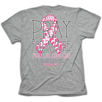 Cherished Girl Pray for a Cure Breast Cancer Pink Ribbon Christian Bright T Shirt
