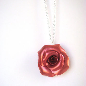 Red Rose Pendant  Sterling Silver and Polymer Clay by JustClayin