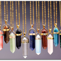 """Beautiful Natural Gemstone Stone Pendant Necklace with 20 Stone Colors """" Free Shipping """""""