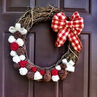 Burlap Gingham Wreath on Grapevine for Front Door with Burlap Flowers