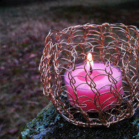 Gold Plated Copper Tea Light Holder - Viking Weave Candle Bowl