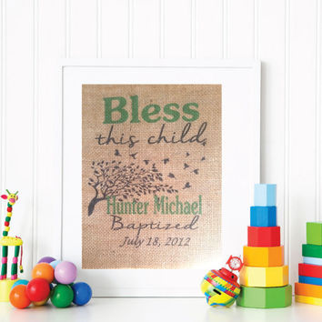 Baptism Tree Print, Baby Boy Baptism Gift, Personalized Baptism Art Print, Nursery Wall Art, Customized Baptism Wall Art