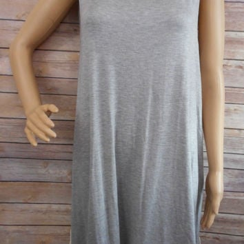 Gray Dress/Tunic With Lace Trim - Large