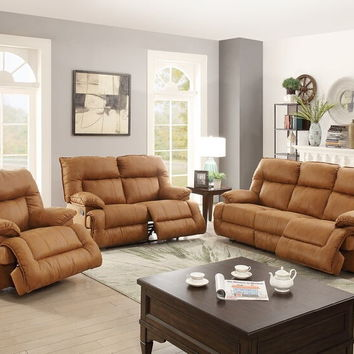 Poundex F6791-92 2 pc Carlsbad II collection camel breathable leatherette upholstered sofa and love seat set with reclining ends