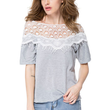 Gray Contrast Sheer Lace Paneled Blouse
