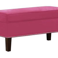 Dunne Velvet Storage Bench, Pink, Bedroom Bench