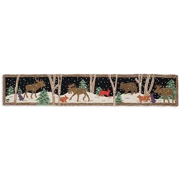 Moose Mural Hooked Wool Hearth Rug 1'L × 6'W