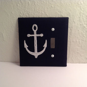 Nautical Anchor Light Switch Cover Plate Navy Fabric Covered Embroidered Anchor White