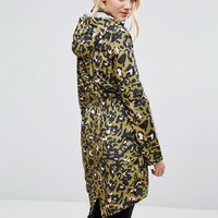 Brave Soul Tall Festival Trench In Leopard Print at asos.com