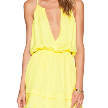 Yellow Deep V-Neck Strappy Elastic Waist Mini Dress