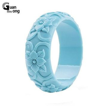 CREYIJ6 GuanLong Simple Romantic Floral Flower Resin Bangles For Women Summer Fashion Accessory Jewellery Puseira