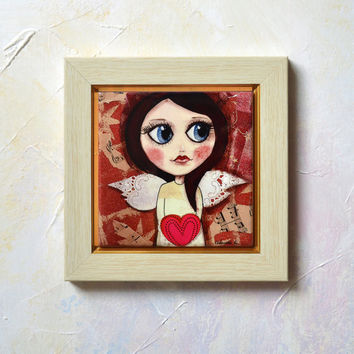 Hand Painted Ceramic Tile Wall Art -- 10cm x 10cm -- Girl with Angel Wings holding Red Heart in Hand -- Valentine's Day -- SobolevaArt