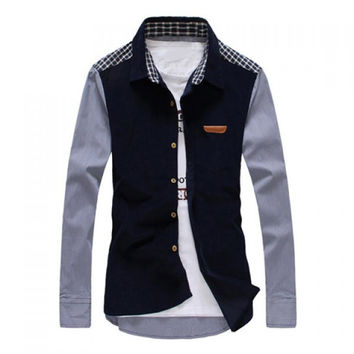Fashion Shirt Collar Corduroy Checked Splicing Slimming Long Sleeve Cotton Shirt For Men