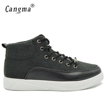 CANGMA Luxury Brand Sneakers Men Vintage Black Casual Shoes Man's Hemp High Leisure Shoes Male Adult Autumn Breathable Trainers