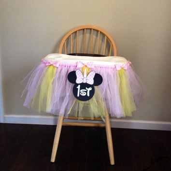 Pink and Yellow High Chair Birthday Tutu