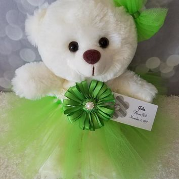 Girls Holiday Gift Teddy Bear in a Tutu Dress in your choice of color