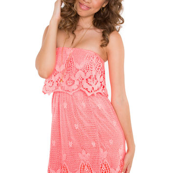 Celia Lace Dress - Coral