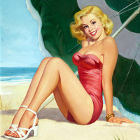 Pin-Up Girl Wall Decal Poster Sticker - At the Beach - Blonde Pin Up Pinup