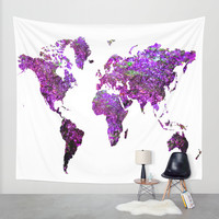 Purple World Map Wall Tapestry by Haroulita