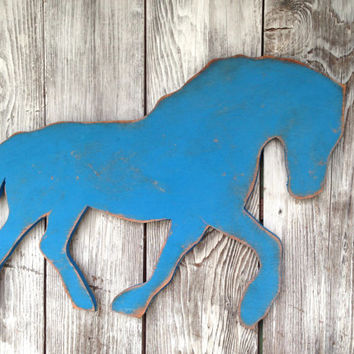 Horse Wood Sign, Horse Wall Art , Beach Coastal Indoor Outdoor Wood Sign, Distressed 30 inch