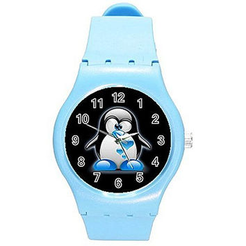 Penguin with Blue Shoes and Hearts on a Girls Blue Plastic Watch
