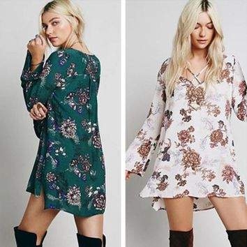 LMFON Free People' Fashion Flower Print Crisscross Bandage V-Neck Long Sleeve Pagoda Sleeve Mini Dress
