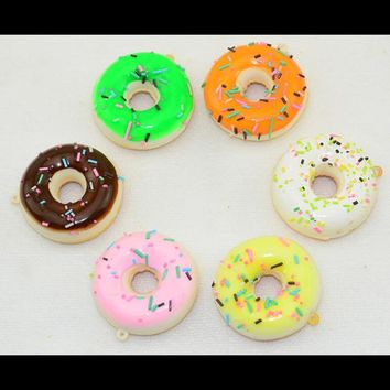 1Pcs 4.8cm Kawaii Straps Charm Chain Donuts Squishy New Colorful Cell phone Bag Pandent Soft Cute Squishy Charms Key Bag