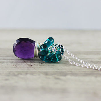 Purple and Teal Necklace, Amethyst Gemstone Necklace, Sterling Silver, Wire Wrap Necklace, Teal Blue, Light Purple, February Birthstone